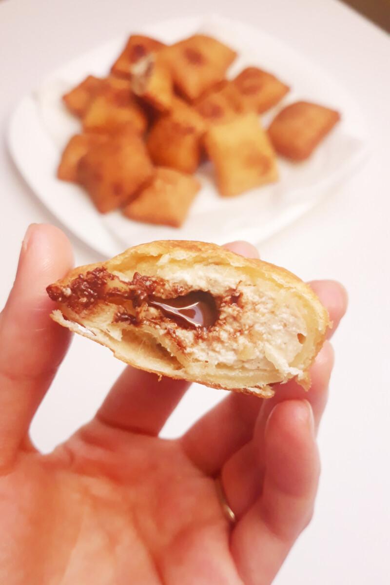 Smażone ravioli z ricottą i czekoladą czyli nadziewane faworki