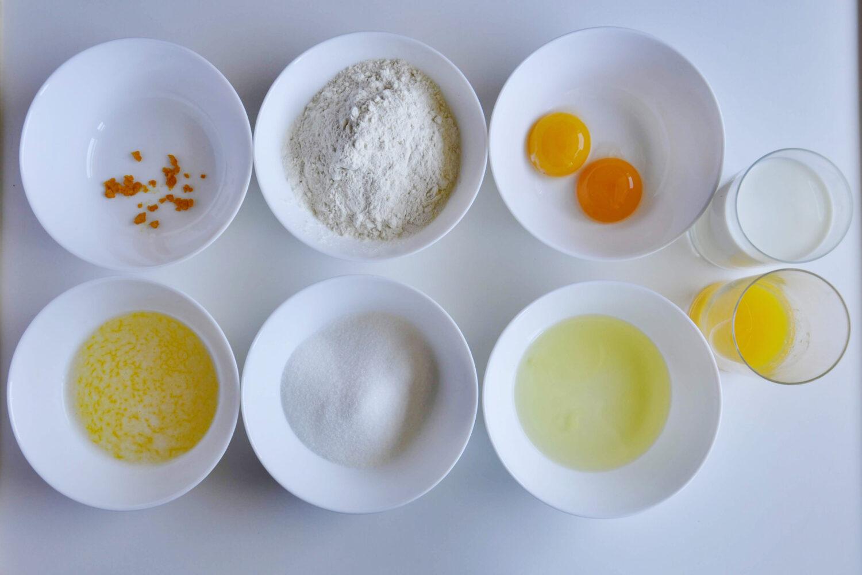 Pmarańczowe gofry, potrzebne składniki