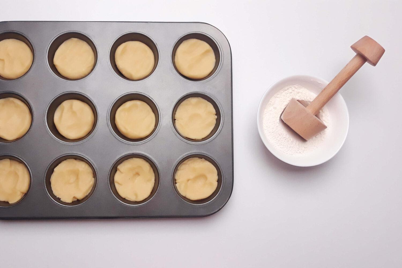 kształtowanie tartaletek, narzędzie do tartaletek, forma do muffin, miska, mąka