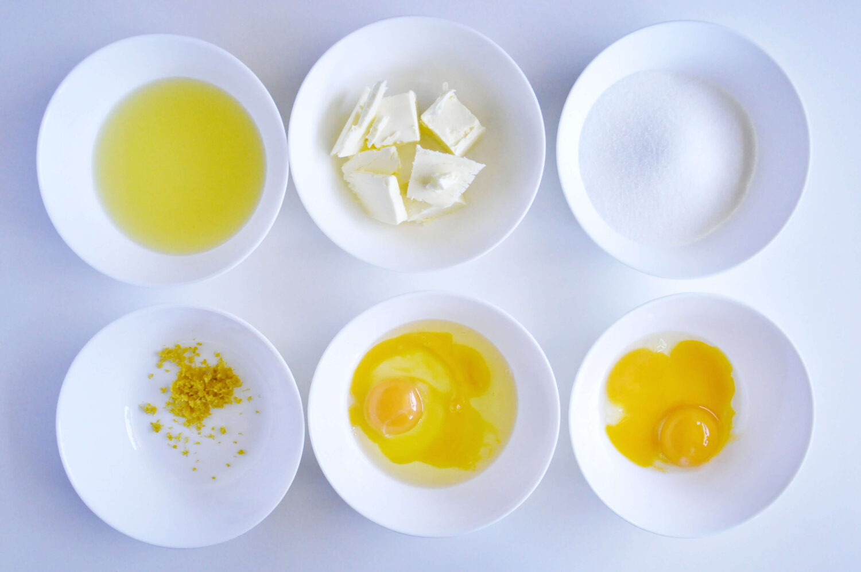 składniki potrzebne do przygotowania lemon curdu