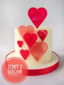 Walentynkowy tort z sercami z izomaltu