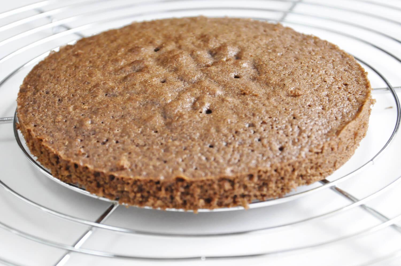 Porzeczkowo-czekoladowy torcik musowy, biszkopt orzechowy