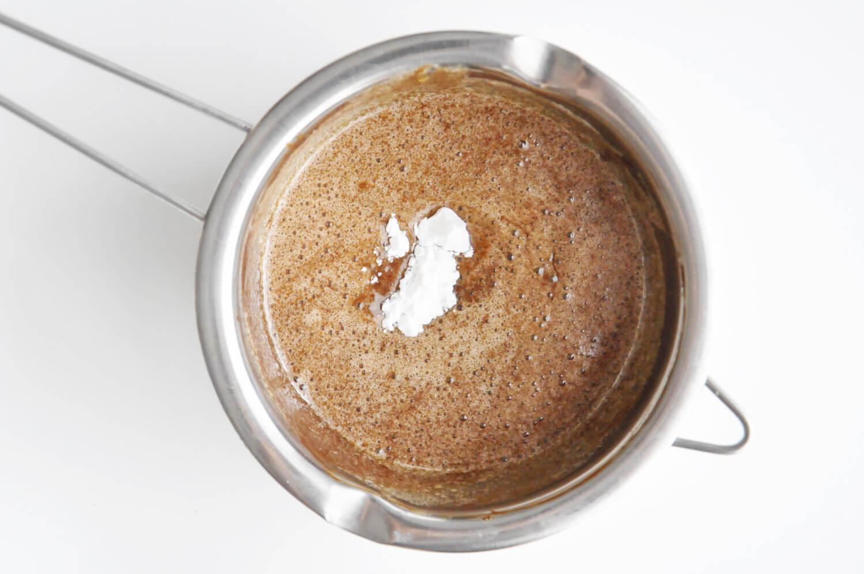 pieczony mus czekoladowy, dodawanie skrobi ziemniaczanej