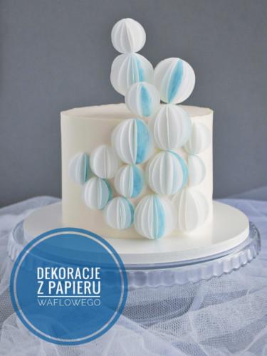 dekoracje na tort - kulki z papieru waflowego