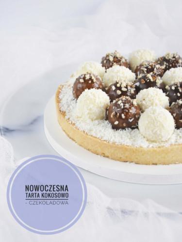 nowoczesna tarta kokosowo - czekoladowa z kulkami musowymi