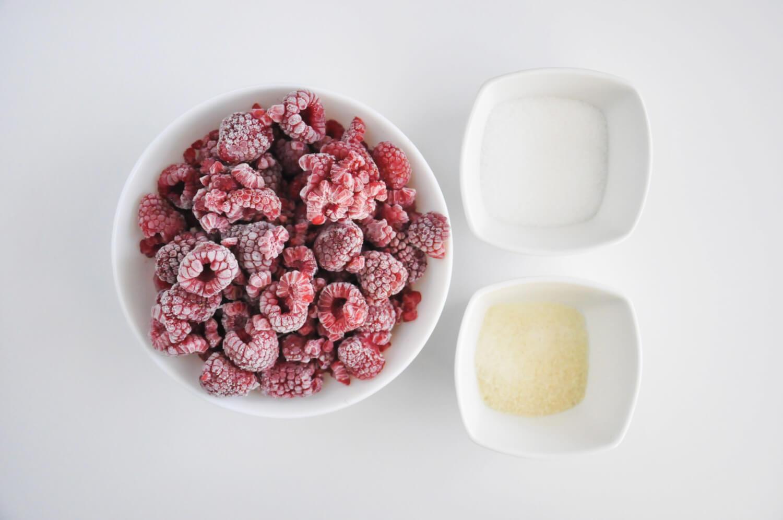 Żelka malinowa - mrożone maliny, cukier, żelatyna