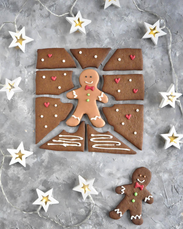 lukrowane puzzle z piernika - świąteczny prezent DIY