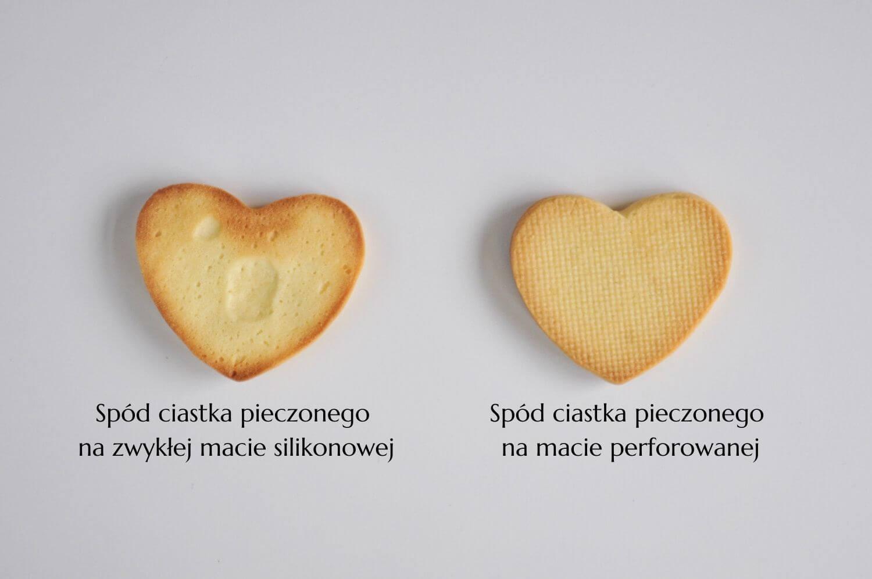 spód ciastka pieczonego na zwykłej macie silikonowej oraz ciastka piecoznego na macie perforowanej
